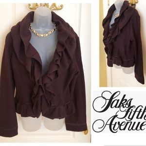 Brown Jacket Top SAKS 5th AVE Pure Wool Flounce